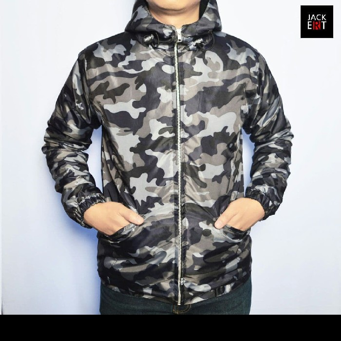 jual Jaket Parasut Army - Motif Loreng Slim Fit & Waterproof / Windproof