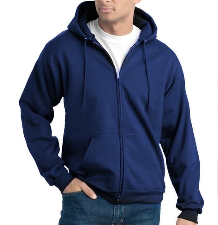 jual Jaket Sweater Polos (Zipper) - Biru Dongker / Navy