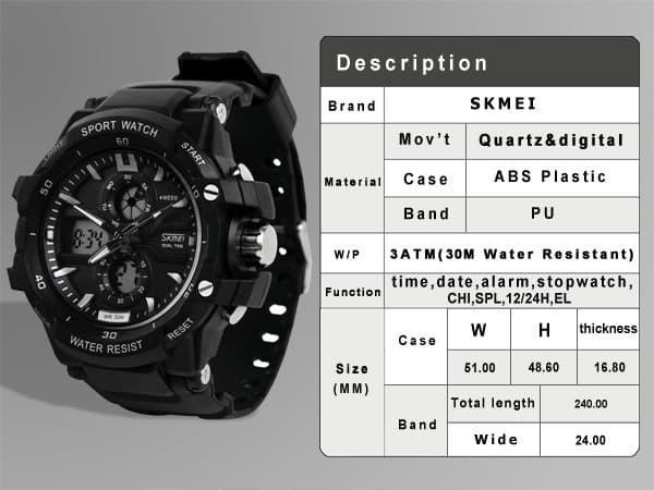 jual SKMEI Sport Watch 0990 Original Water Resistant 50M - Black