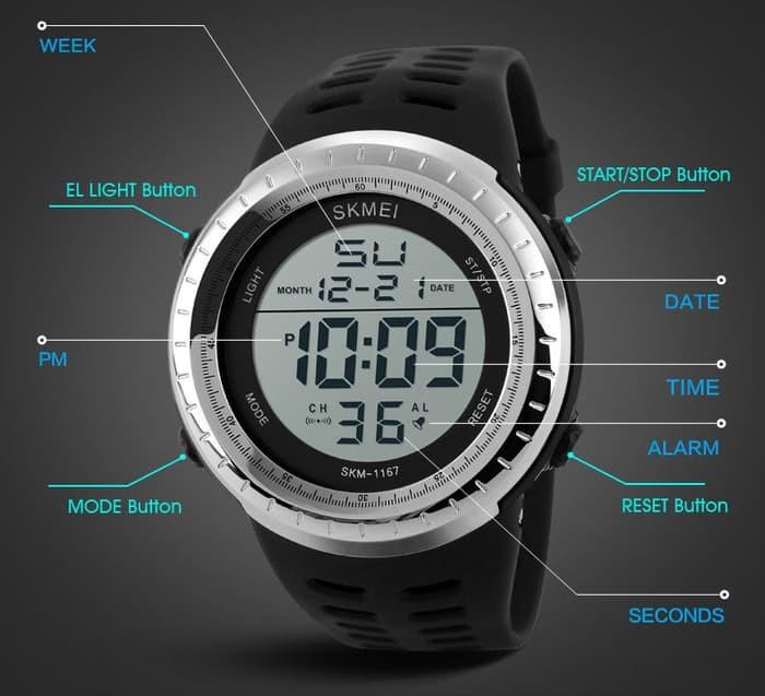 jual SKMEI Sport Watch 1167 Original Water Resistant 50M - Black