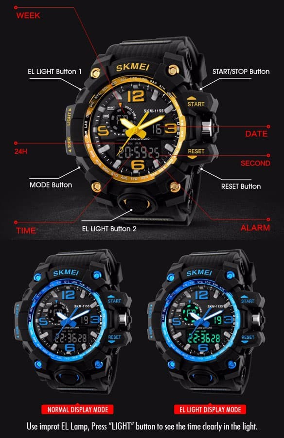 jual SKMEI Sport Watch 1155 Original Water Resistant 50M - Black