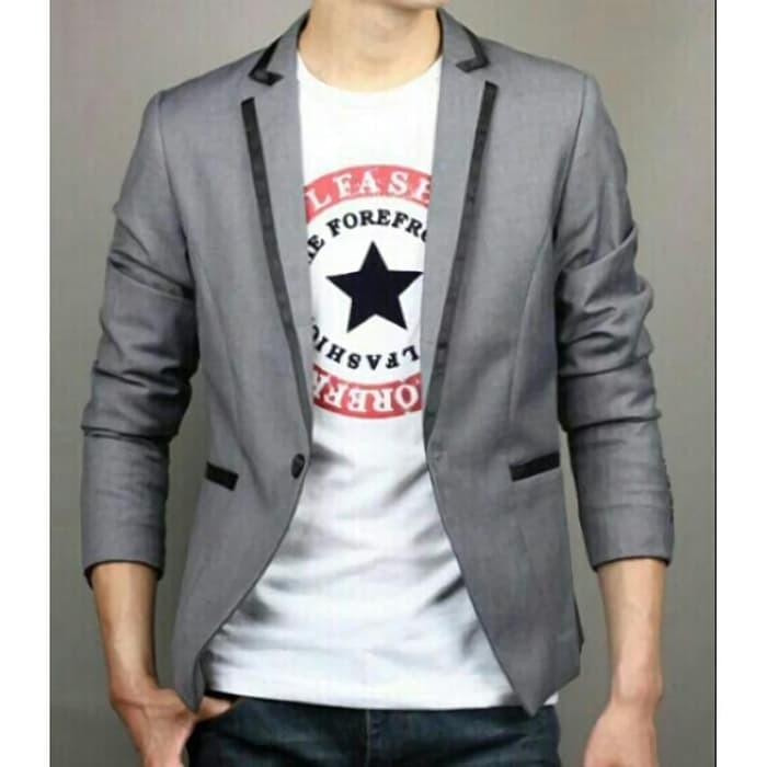 jual Blazer GGS Grey Line Black Premium, Jas Blazer Aliyando Abu