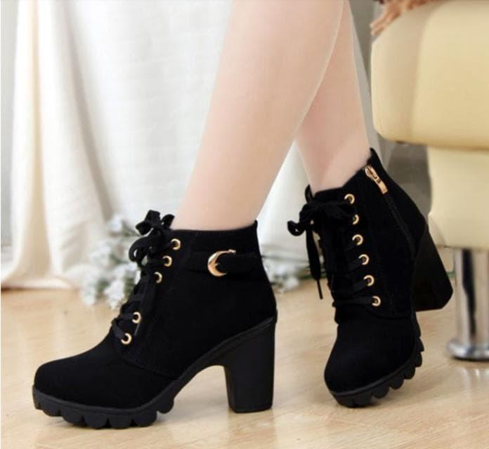 jual Sepatu Boots Heels Wanita Tan & Hitam SBO99 - Hitam, 37