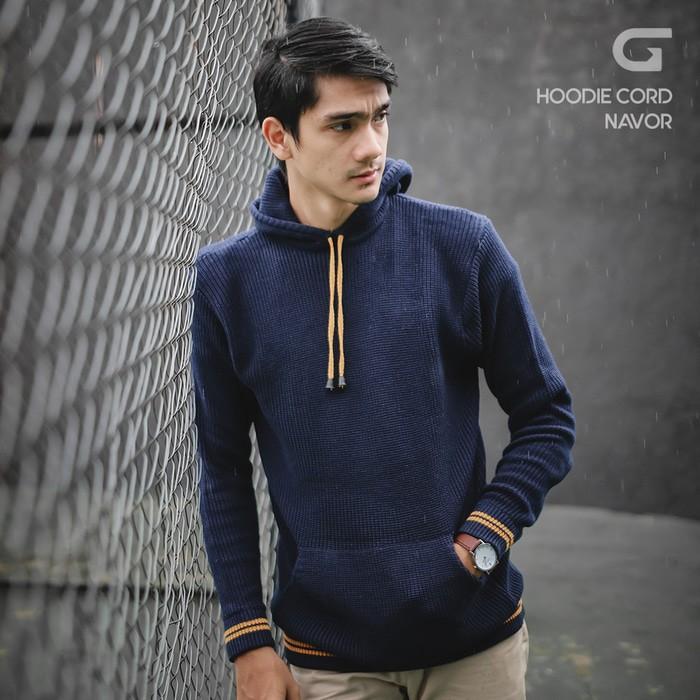 jual Sweater Rajut Pria Gomuda Hoodie Cord - Navor - Navy, S