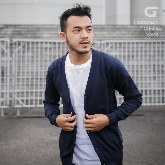 jual Sweater Rajut Pria Gomuda Cardigan Clean - Navy - Navy, L