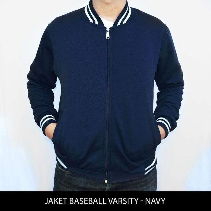 jual BIG SIZE Jaket Baseball Varsity Polos - Biru Navy / dongker XXL XXXL