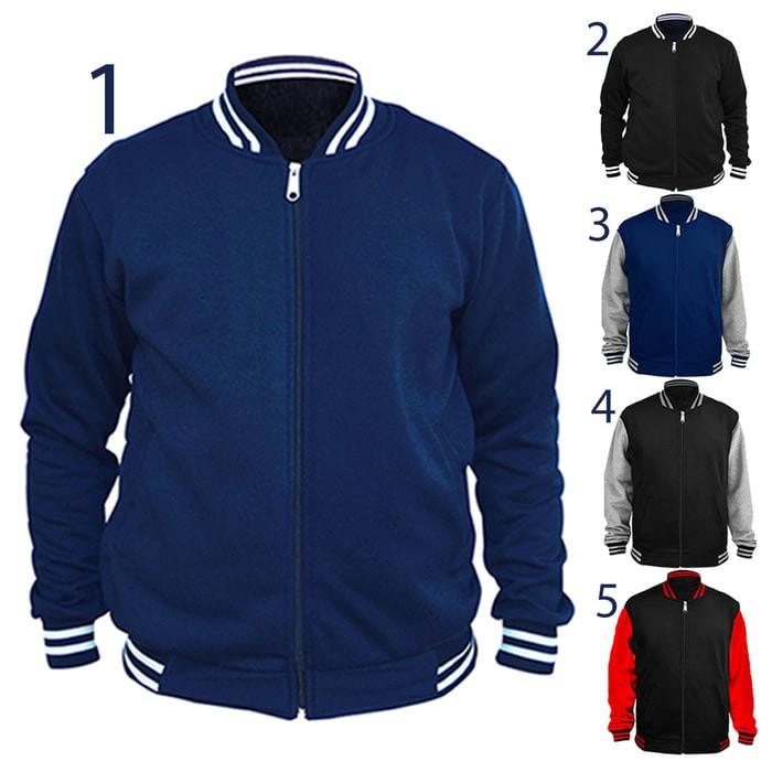 jual Jaket / Sweater Baseball Varsity Basic Polos - Hitam - Merah