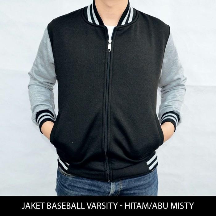 jual Jaket / sweater Baseball Varsity Basic Polos Hitam - Abu Misty
