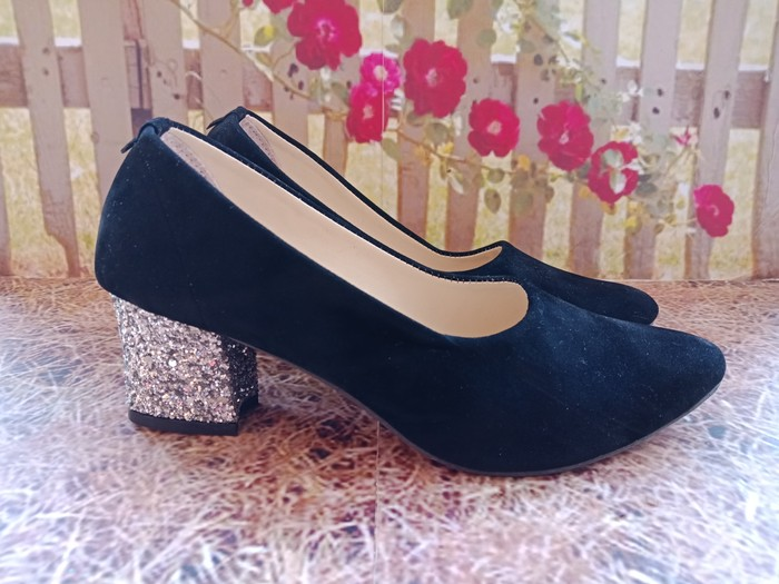 jual Sepatu Sandal High Heels Hak Tahu Gliter SDH171 Hitam