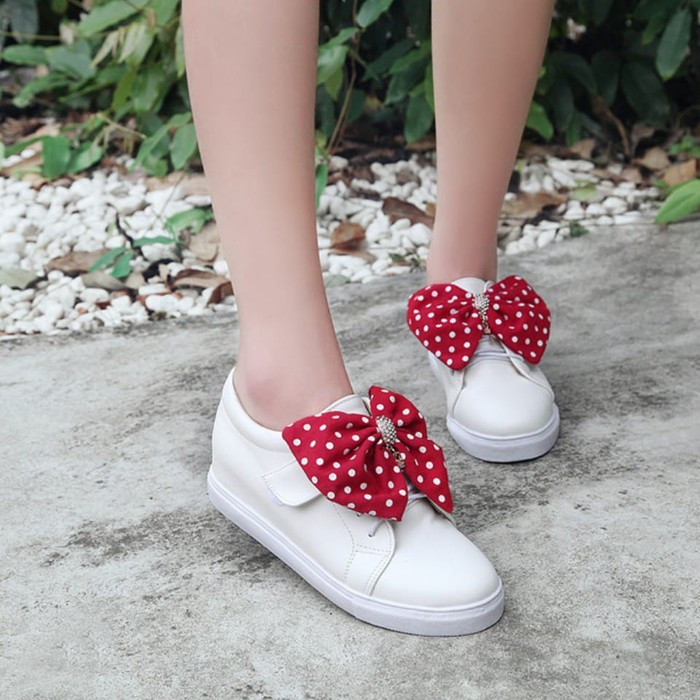 jual Sepatu Wanita Kets Casual Pita Polkadot SDS247 Putih