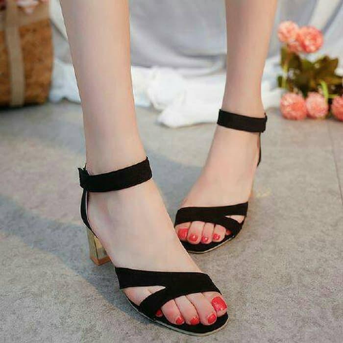 jual Sandal High Heels Wanita Hak Tahu SDH158 - Hitam, 37