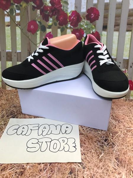 jual Sepatu Wedges Wanita Strip Pink SDS158