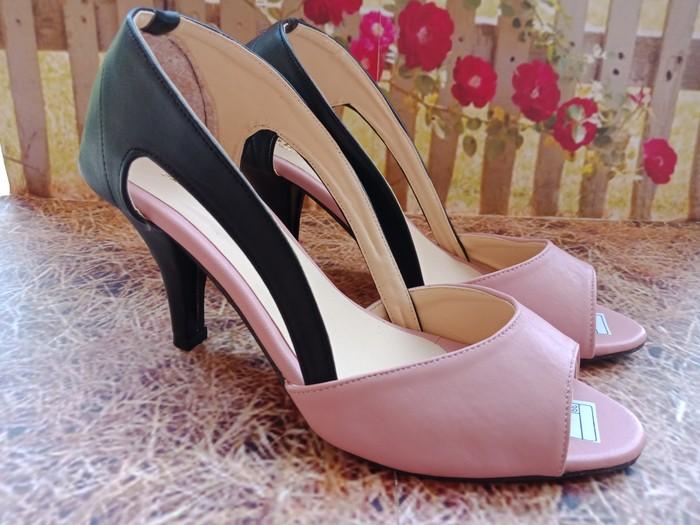jual Sandal High Heels Wanita Nakeisha SDH172 Pink