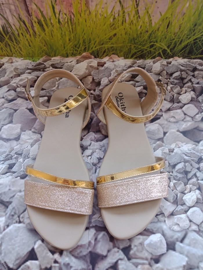 jual Sandal Wanita Slop Gliter SDL91 Rose Gold