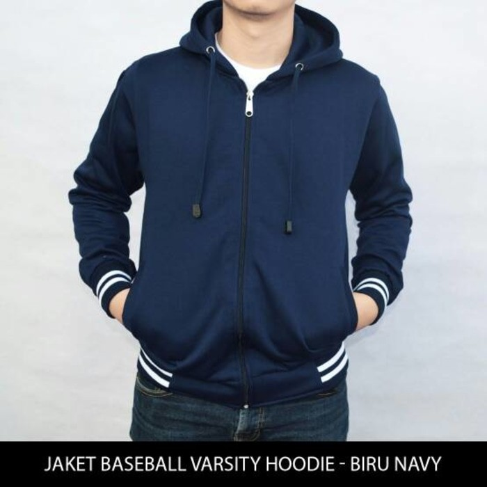 jual Jaket Sweater Polos Baseball Varsity Hoodie Unisex - Biru Navy