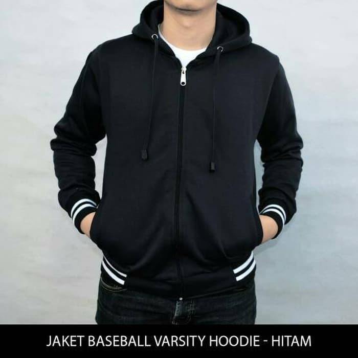 jual Jaket Sweater Polos Baseball Varsity Hoodie Unisex - Hitam