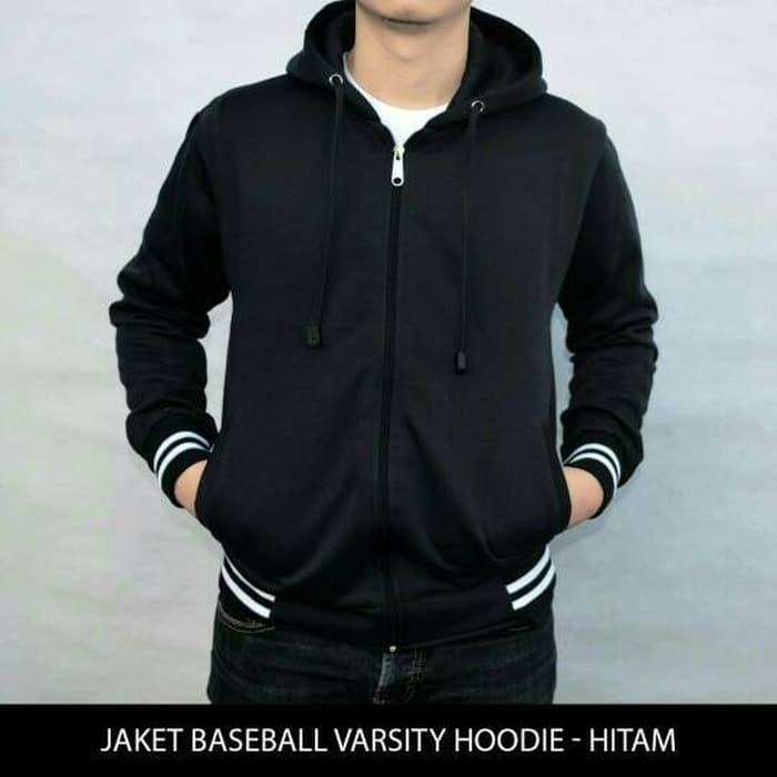 jual BIG SIZE Jaket Polos Baseball Varsity Hoodie Unisex - Hitam XXL-XXXL