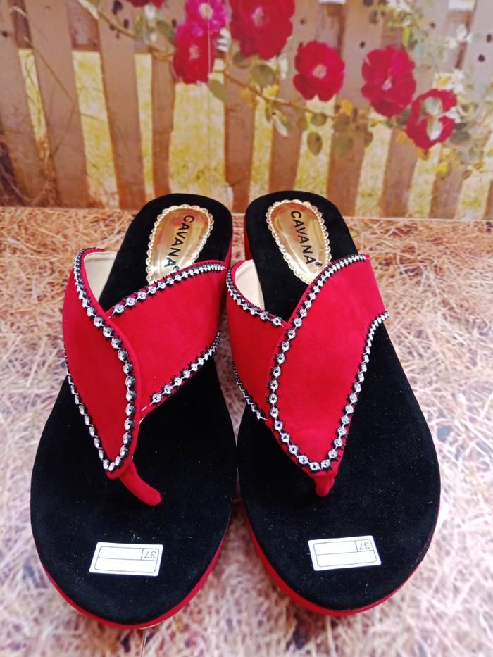 jual Sandal Wedges Wanita Jepit SDW88 - Merah, 37