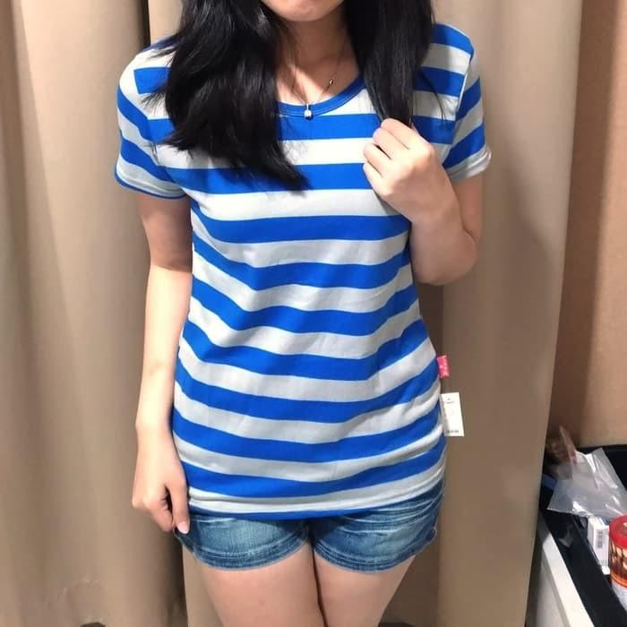 jual Kaos Vneck Salur Warna Warni Lengan Pendek / Baju / Pakaian Wanita - Blue