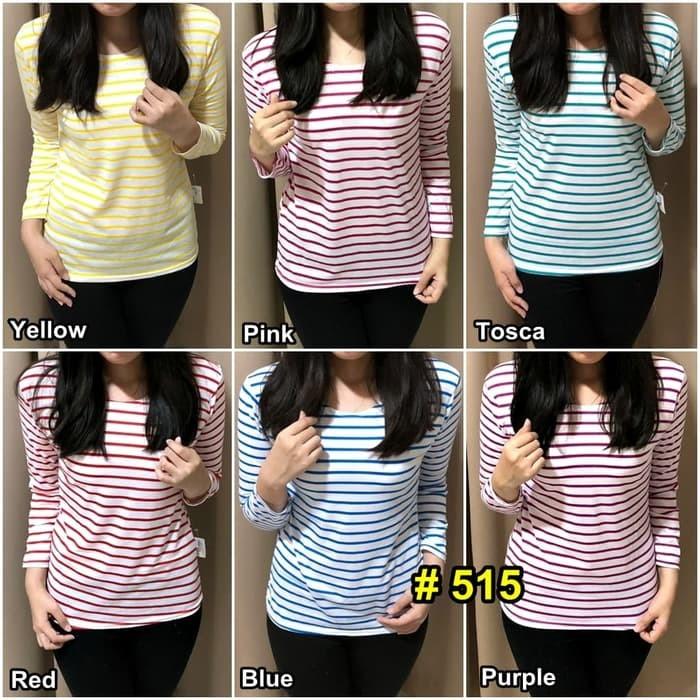 jual Colorful Striped Long Sleeve / Kaos / Pakaian / Blouse / Tshirt Wanita