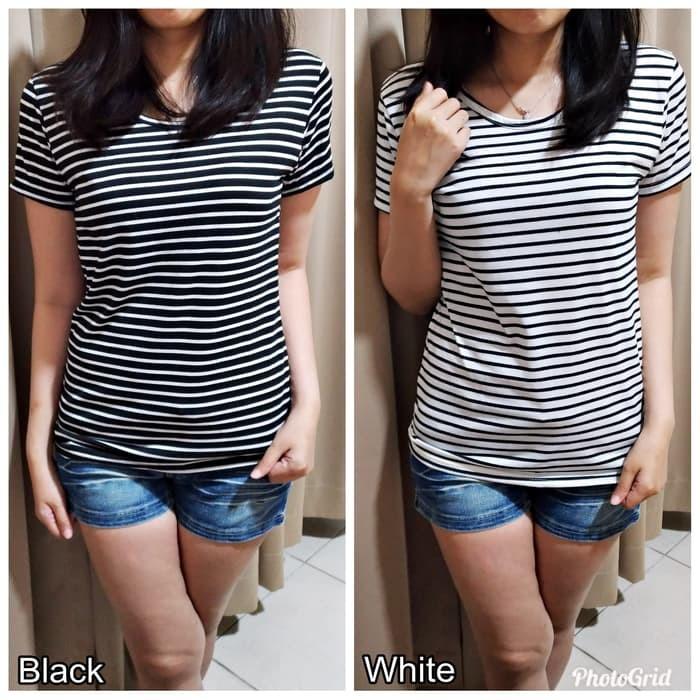 jual Lengan Pendek Stevia Top / Stevy Top / Kaos Pakaian Salur Wanita - White