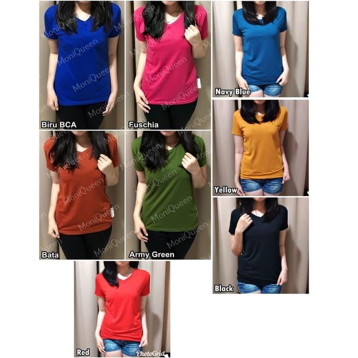 jual Kaos Basic Vneck / Kaos Polos / Blouse / t-shirt / Pakaian Wanita - White