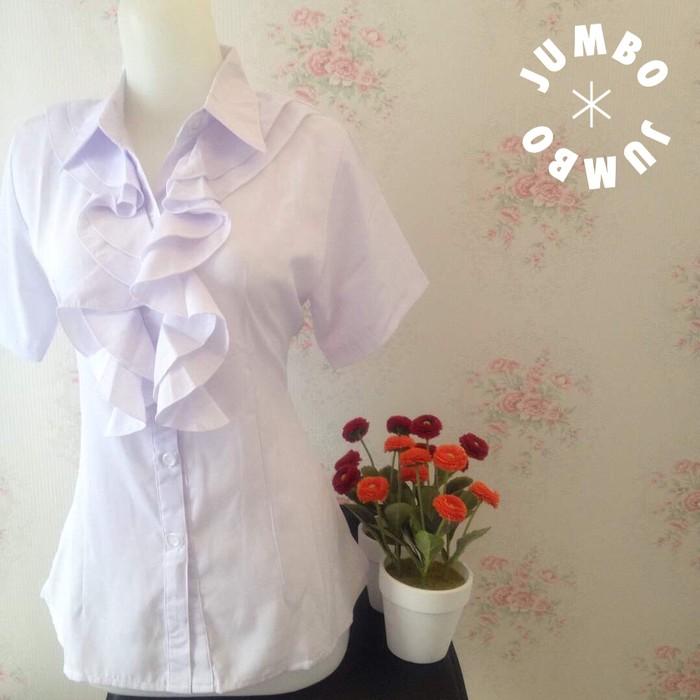 jual Kemeja blus putih wanita kantor renda neci Jumbo pendek