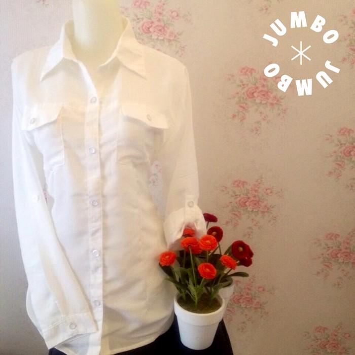 jual Kemeja blus putih wanita kantong/saku 2 zara lembut Jumbo