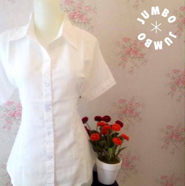 jual Kemeja blus wanita putih polos zara lembut Jumbo pendek