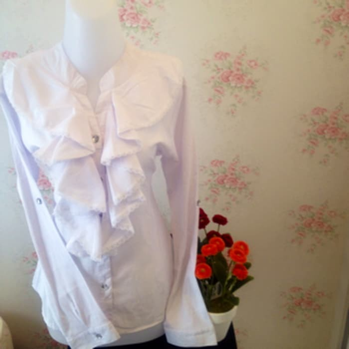 jual kemeja blus Putih wanita renda Korea Vneck