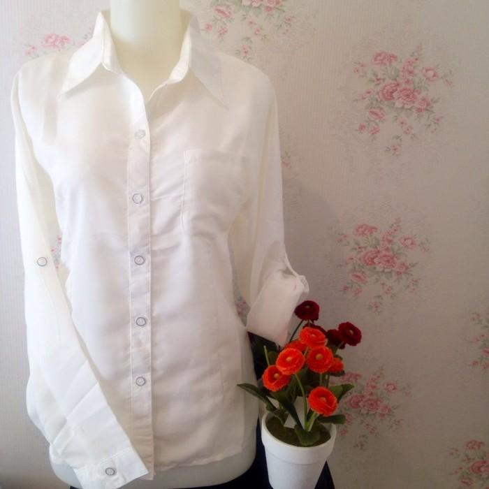 jual Kemeja blus putih wanita kantor zara lembut kantong/saku 1