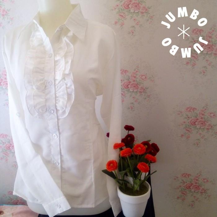 jual Kemeja blus putih wanita renda simple kerah zara Jumbo