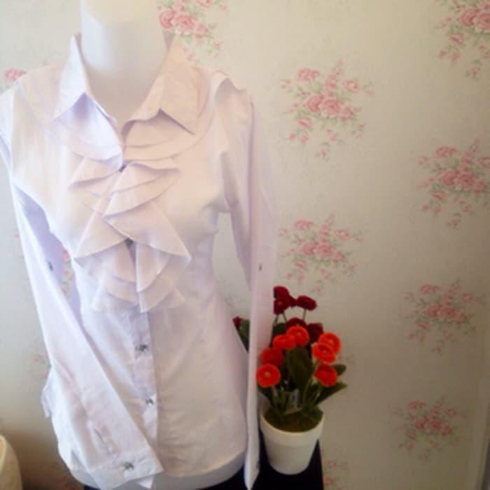 jual kemeja blus putih wanita kantor renda neci kerah