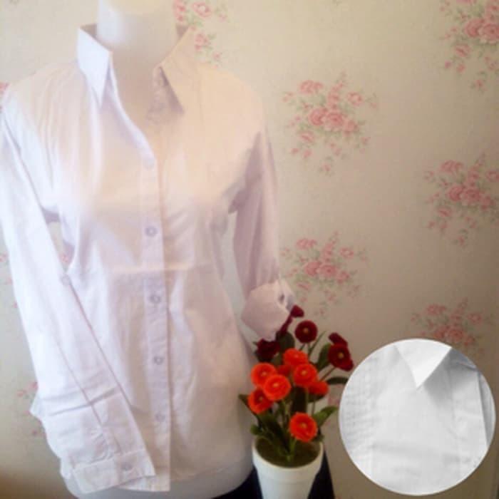 jual kemeja blus putih wanita kantor omiset kantong 1 / saku 1