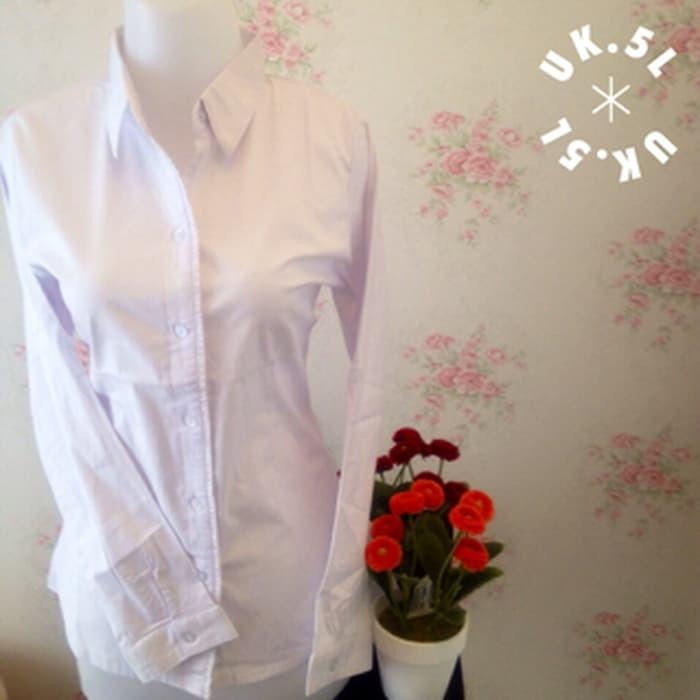 jual kemeja putih polos risu wanita kantor Jumbo 5L