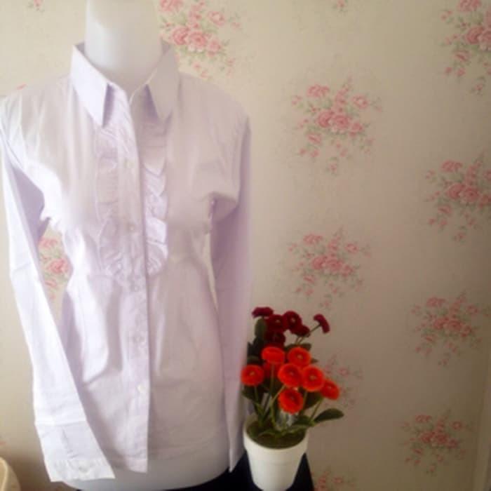 jual kemeja blus putih wanita kantor polos renda