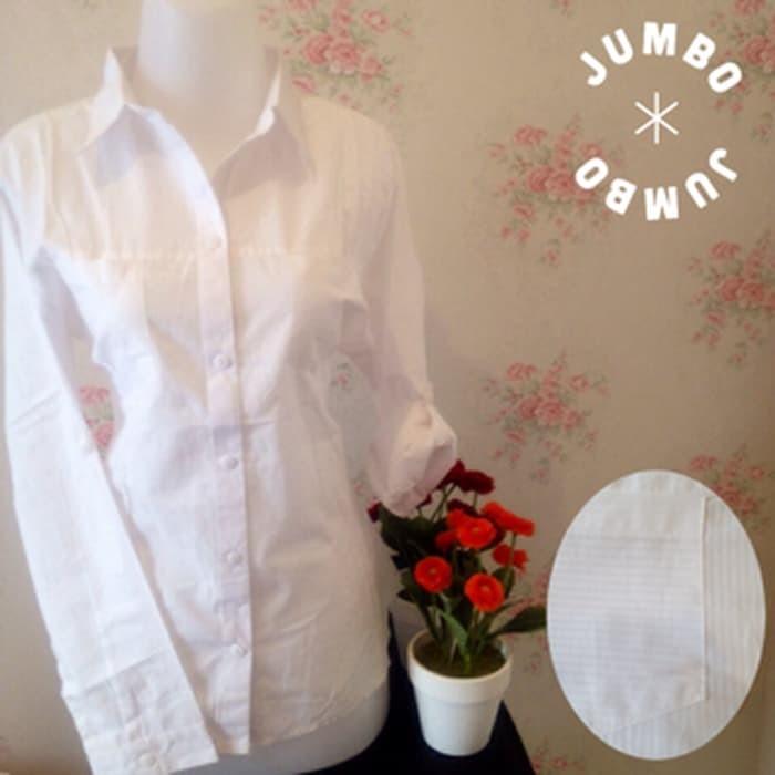 jual Kemeja putih wanita kantor kantong/saku 2 simple motif salur Jumbo