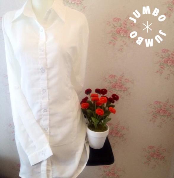 jual Kemeja blus wanita putih polos zara lembut body panjang Jumbo