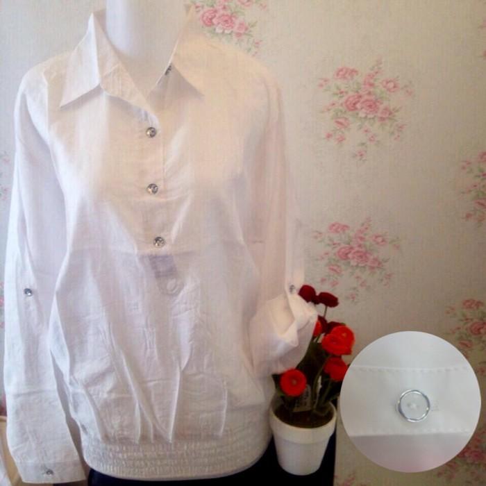jual Kemeja blus putih wanita kancing 3 karet pinggang