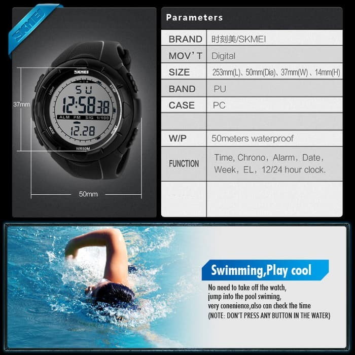 jual SKMEI Sport Watch 1025 Original Water Resistant 50M - Gray