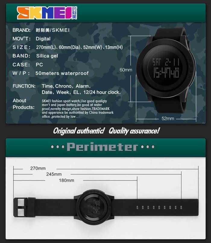 jual Jam Tangan Pria SKMEI 1142 Original Water Resistant 50M - Black