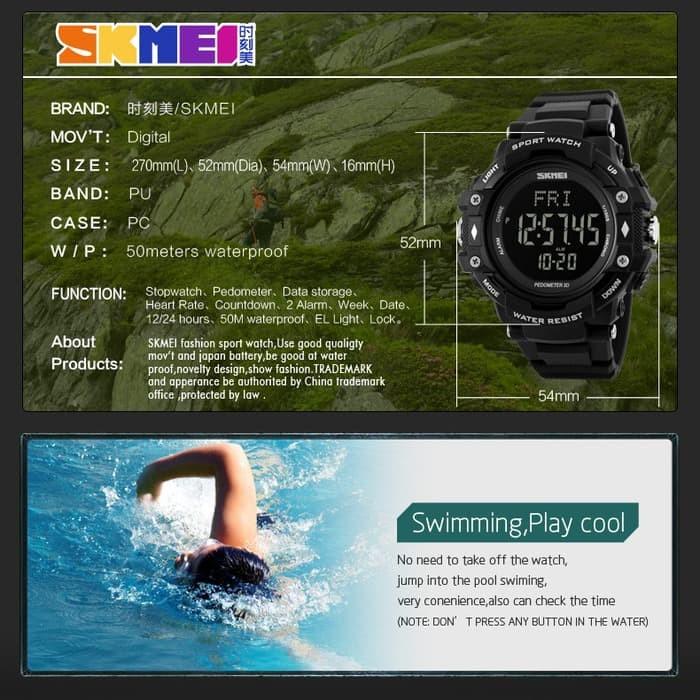 jual SKMEI Pedometer Heart Rate Tracking 1180 Original Water Resist 50M - Hitam