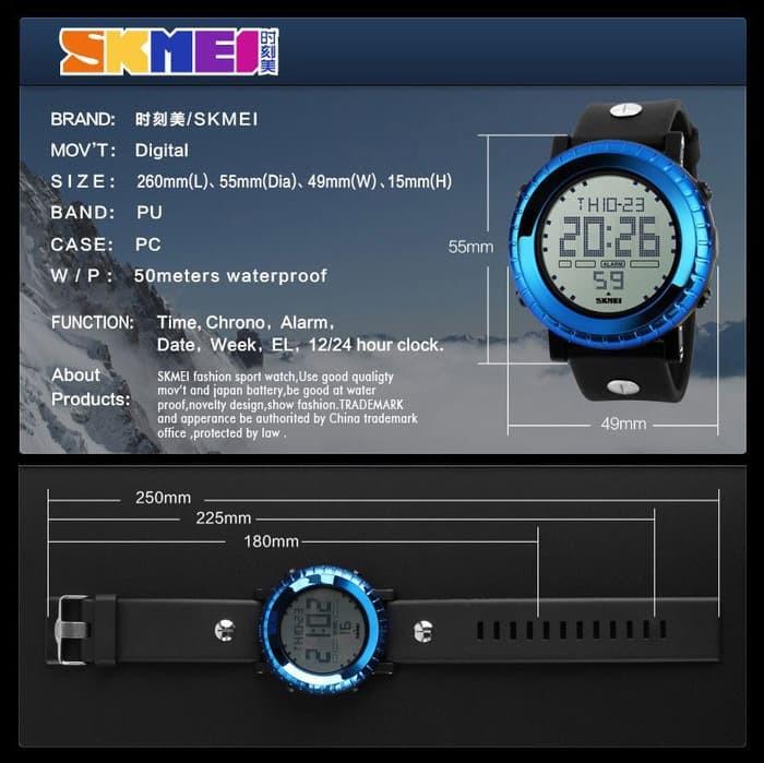jual Jam Tangan Pria SKMEI 1172 Original Water Resistant 50M - Black