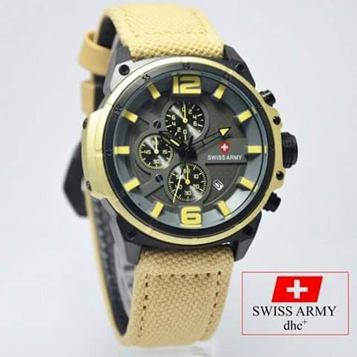 jual Jam Tangan Pria Swiss Army Tali Canvas Chrono Aktif