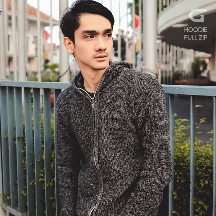 jual Sweater Rajut Pria Gomuda Hoodie Full Zip Abu Tua - Abu -abu Tua, XXL