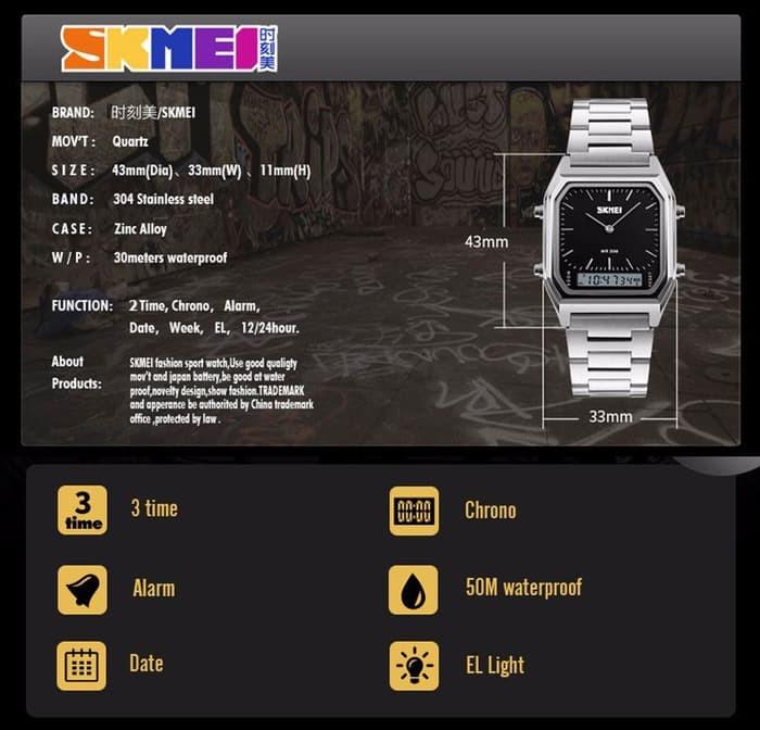 jual Jam Tangan Pria Original SKMEI Casio DG 1220 Water Resist 30M - Perak