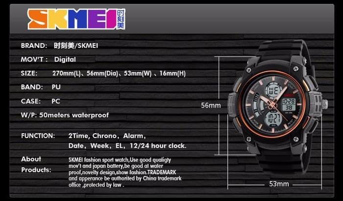 jual Jam Tangan Pria SKMEI 1192 Original Water Resistant 50M - Black