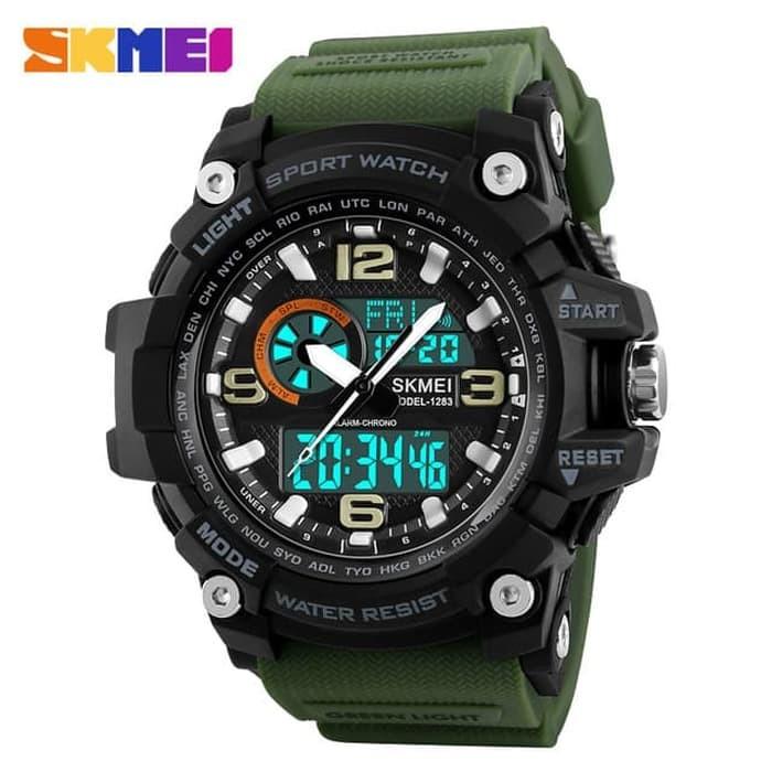 jual Jam Tangan Pria Dual Time SKMEI Casio Men Sport Original 1283 - Green