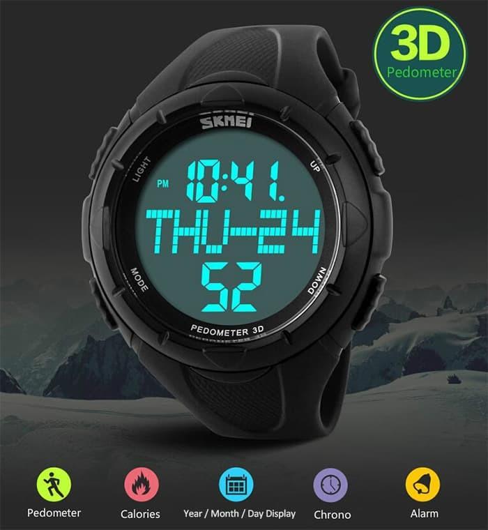 jual SKMEI Pedometer Sport Watch 1122 Original WR 50M - Army Green