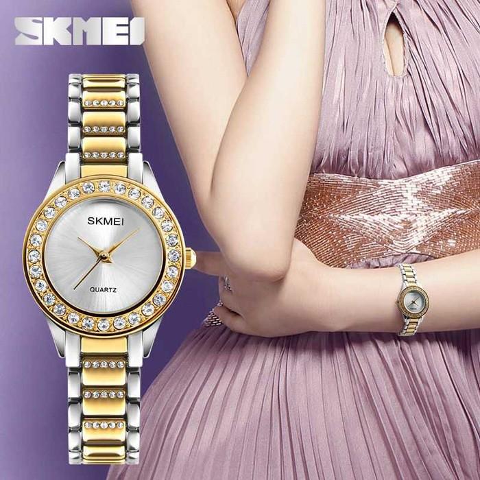 jual Jam Tangan Wanita Analog Mewah Anti Air SKMEI 1262S Original - GOLD